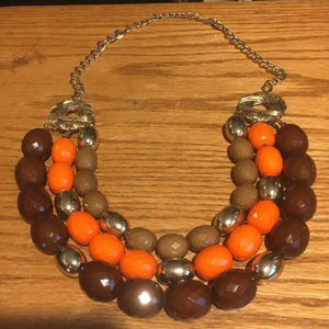 Jewelry - Orange, Brown & Gold Layered Bead Necklace